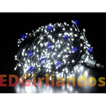 200 LED lempučių girlianda balta/mėlyna flash