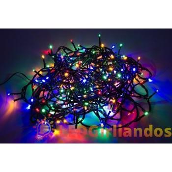 100 LED lempučių mėlynos, geltonos, žalios, raudonos spalvų girlianda ( 8 mirksėjimo variantai )
