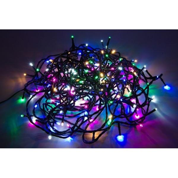 200 LED lempučių baltos, rausvos, žalios, šiltai baltos, mėlynos spalvų girlianda ( 8 mirksėjimo variantai )