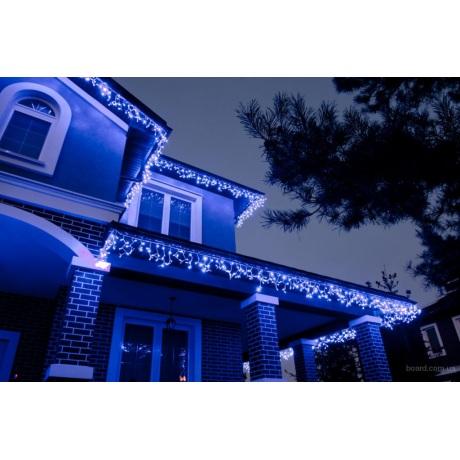 6 m 120 LED lempučių girlianda varvekliai mėlynos / baltos + balta blykstė