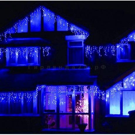 6 m 120 LED lempučių girlianda varvekliai baltos / mėlynos spalvos + balta blykstė