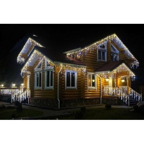 6 m 120 LED lempučių girlianda varvekliai baltos-melynos + balta blykstė